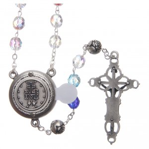 Rosary in crystal with blue shades and talking center piece in SPANISH 8 mm s2
