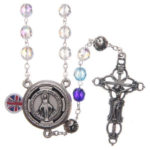 Rosary in crystal with blue shades and talking center piece in ENGLISH 8 mm s1