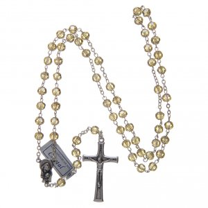 Rosary in gold crystal and oxidised metal s4