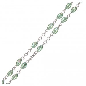 Rosary in green crystal with cross and center piece in oxidised metal s3