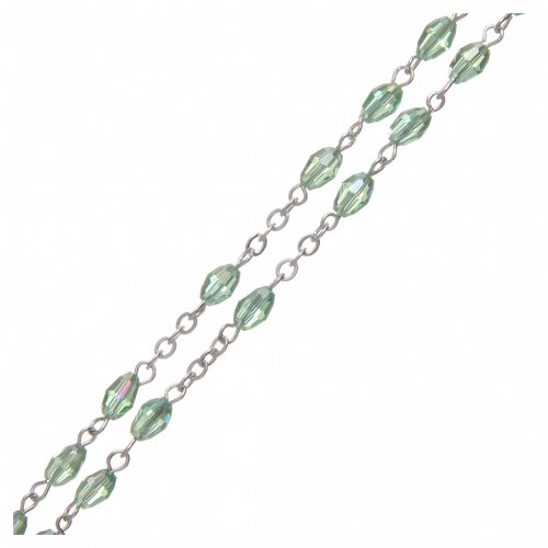 Rosary in green crystal with cross and center piece in oxidised metal 3