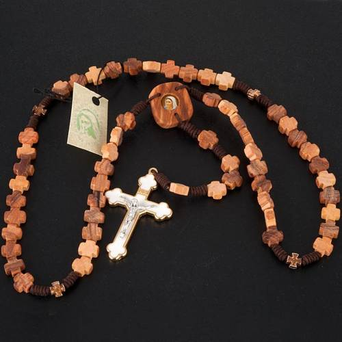 Rosary in olive wood with cross grains s2