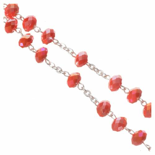 Rosary in opaque crystal and 800 silver, 6mm orange s4