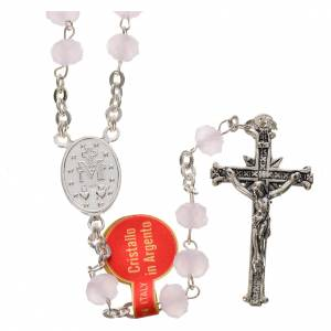 Rosary in opaque crystal and 800 silver, 6mm pink s2
