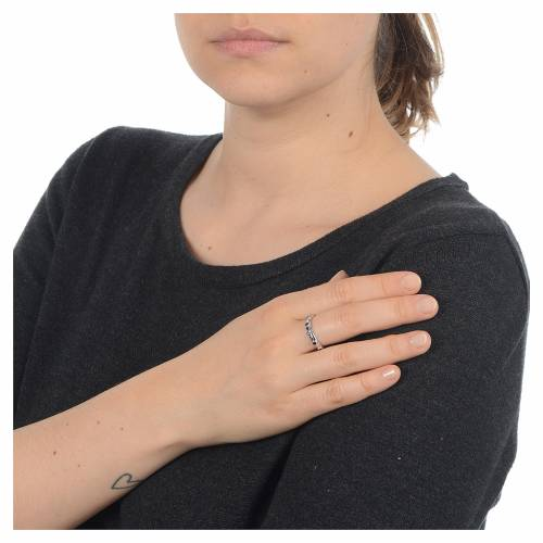 Rosary Ring AMEN rhodium-plated silver 925, black zircons s3