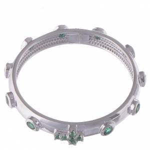 Rosary Ring AMEN rhodium-plated silver 925, green zircons s2