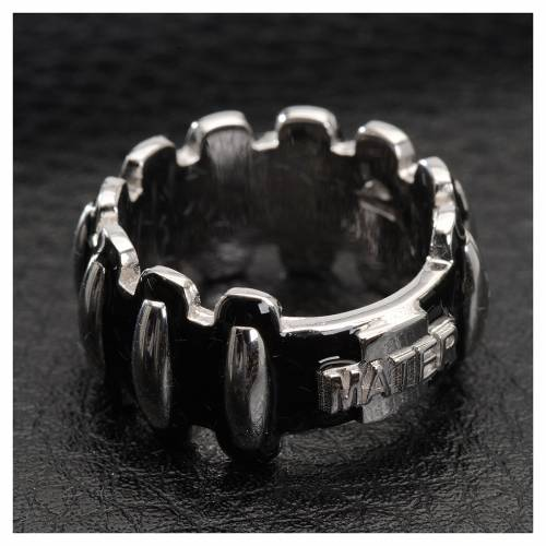 Rosary ring in silver 925 with black enamel, MATER s2