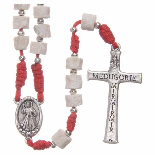 Rosary white Medjugorje stone, red rope s2