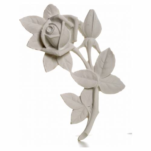 Rose bas-relief decoration in reconstituted marble, 11 cm s1