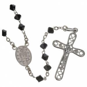 Silber Rosenkränze: Rosenkranz Silber und schwarze Swarovski Perlen 5mm