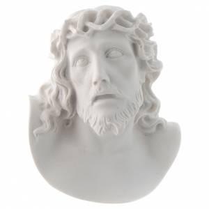 Rostro de Cristo de 10 cm en polvo de mármol de Carrara s1