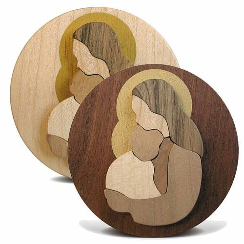 Round wooden favour with Virgin Mary with Baby Jesus s1
