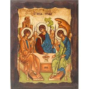 Rublev's Icon of the Holy Trinity with engraved edges s1