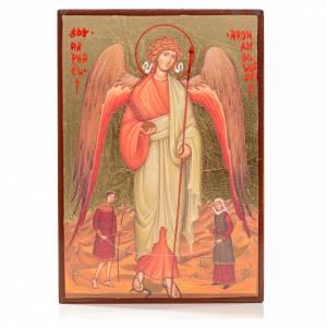 Holz, Stein gedruckte Ikonen: Rumänische Ikone mit Siebdruck Sankt Rafael 14x10 cm