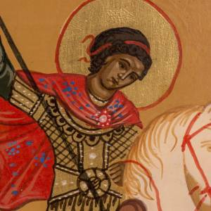 Russian icon St George and the dragon, painted 20x17 cm s2