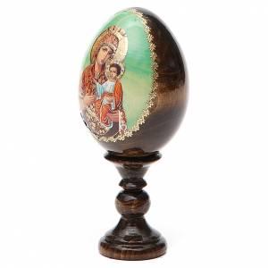 Handgemalte Russische Eier: Russische Ei-Ikone Gottesmutter Jungfrau mit Christkind 13cm Decoupage