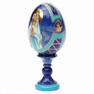 Handgemalte Russische Eier: Russische Ei-Ikone Gottesmutter von Lourdes Decoupage 13cm blau