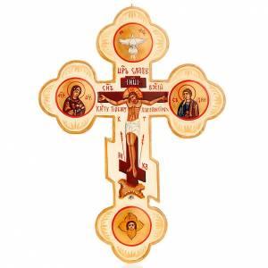 Kreuzikonen: Russische Ikone Dreipasskreuz elfenbeinfarbig