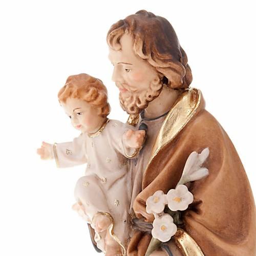 Statue en bois peint, St. Joseph avec enfant et lys s3