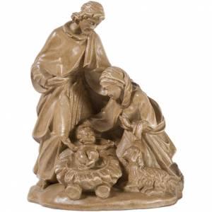 Sacra Famiglia con pecora legno Valgardena patinato s1