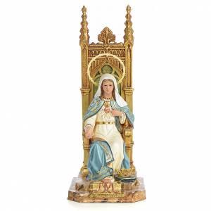 Sacré-Coeur de Marie sur trône 40 cm pâte bois finition supérieu s1