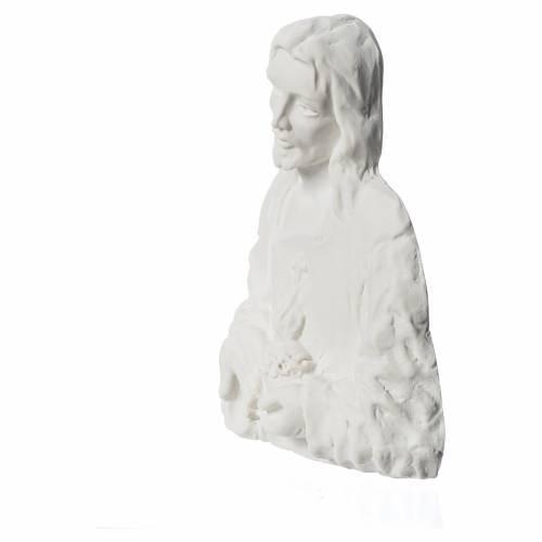 Sacré Coeur de Jésus bas relief 18 cm marbre s3