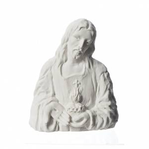 Funeral products: Sacred Heart of Jesus, 18 cm bas-relief in reconstituted marble.