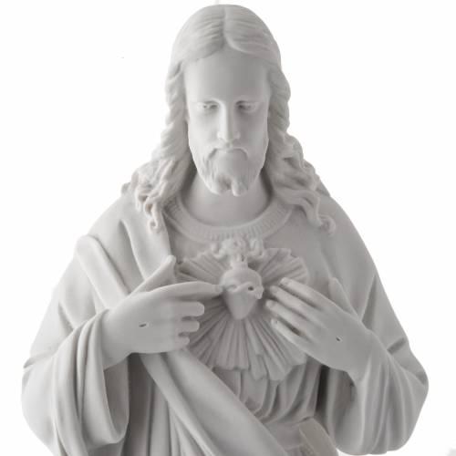 Sacro Cuore di Gesù 50 cm marmo sintetico bianco s2