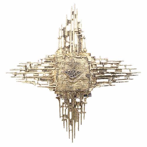 Sagrario de pared latón fundido cruz de rayos dorados s1