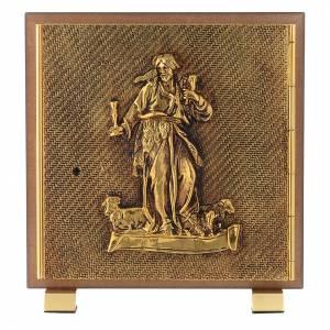 Sagrarios: Sagrario de simil madera de olmo y latón fundido Cordero