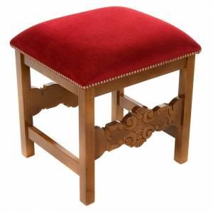 Amboni, inginocchiatoi, complementi d'arredo: Sgabello barocco sagrestia legno noce velluto