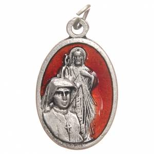 Medals: Saint Faustyna medal in galvanised zamak, antique red 2.1cm
