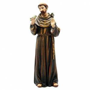 Hand painted wooden statues: Saint Francis figure in painted wood pulp 15cm