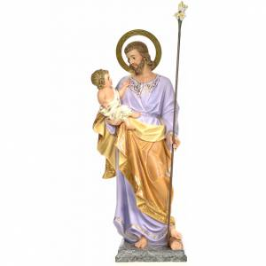 Saint Joseph and baby 120cm, wood paste, elegant decoration s1