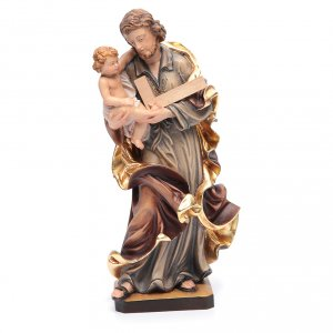 Hand painted wooden statues: Saint Joseph statue with Baby Jesus in painted wood