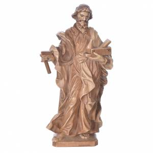 Natural wood statues and figures: Saint Joseph the worker statue in multi-patinated Valgardena woo