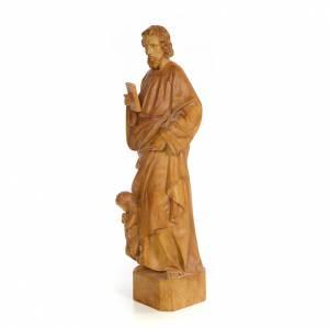 Hand painted wooden statues: Saint Matthew 60cm, wood paste, burnished decoration