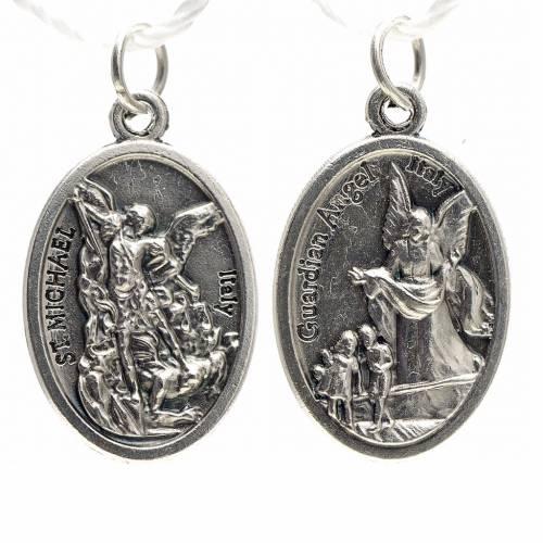 Saint Michael devotional medal in oxidised metal 20mm s1