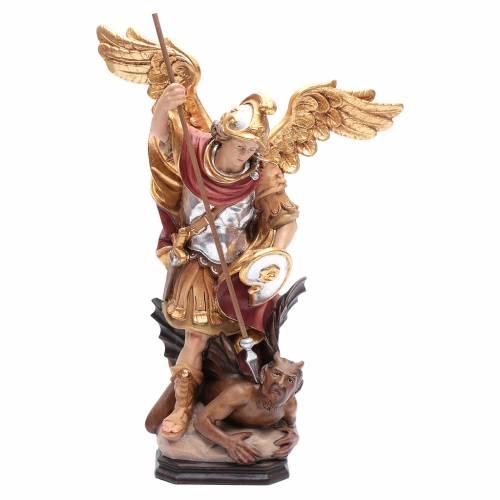 Saint Michel Archange ailes dorées bois Valgardena peint s1