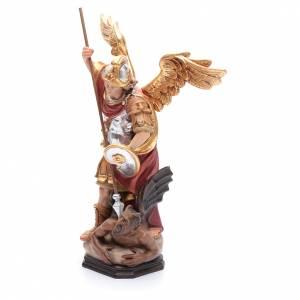 Saint Michel Archange ailes dorées bois Valgardena peint s2