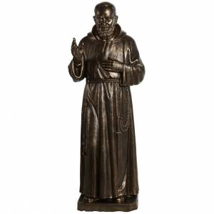 Fiberglass statues: Saint Pio statue in fiberglass, bronze color 175 cm