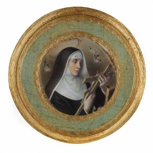 Saint Rita picture on round wood panel s5