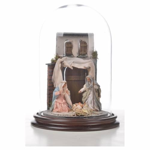 Sainte Famille terre cuite style arable 20x30cm cloche verre s4