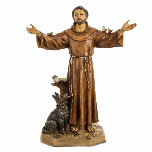 San Francesco d'Assisi 50 cm resina Fontanini s1