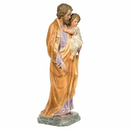 San Giuseppe Bambino in braccio 110 cm pasta legno dec. elegante s4