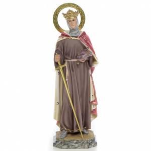 San Luigi Re di Francia 40 cm pasta di legno dec. elegante s1