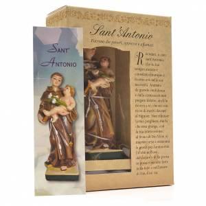 Sant'Antonio da Padova 12 cm con immaginetta PREGHIERA ITALIANO s3