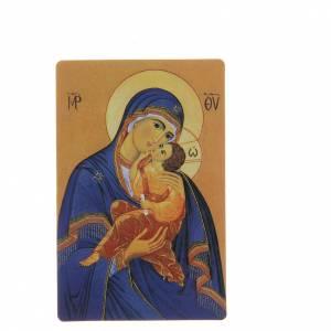 STOCK Santino Madonna Manto blu plastificato cm 8,5x5,4 s1