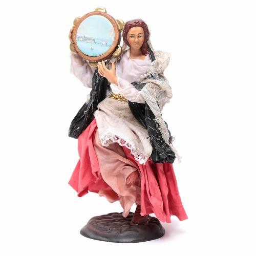Santon femme avec tambourin 18 cm crèche Napolitaine s1