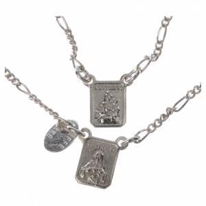 Scapolari: Scapolare argento 800 Madonna Carmelo Gesù